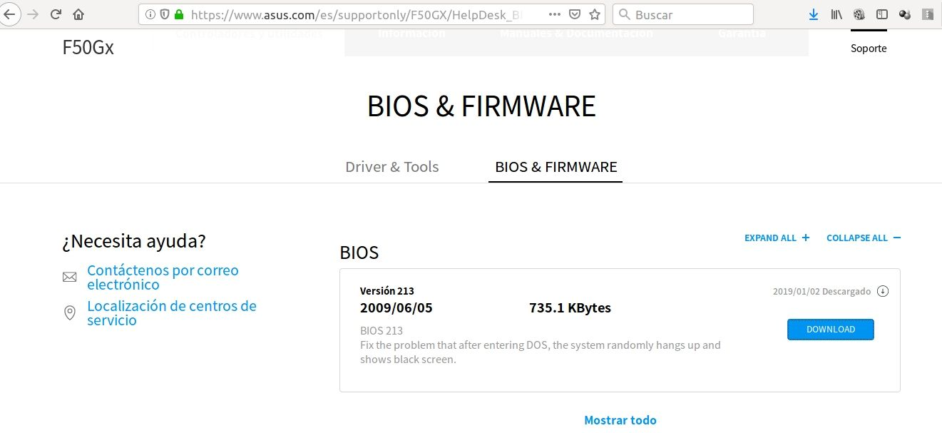 Web de descarga de firmware