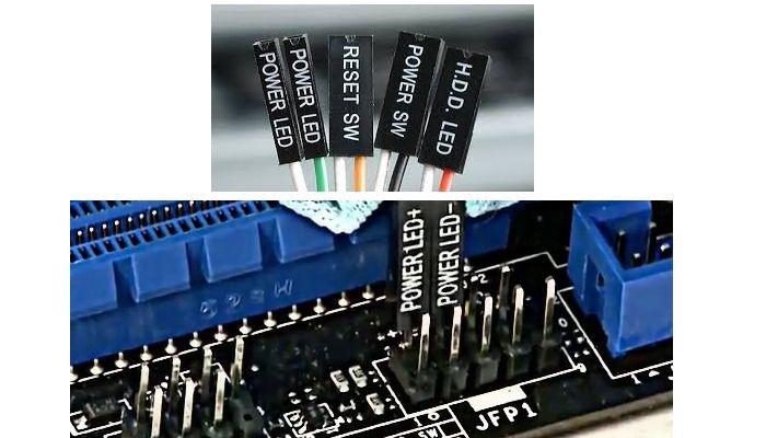 Conectores del frontal en la placa base