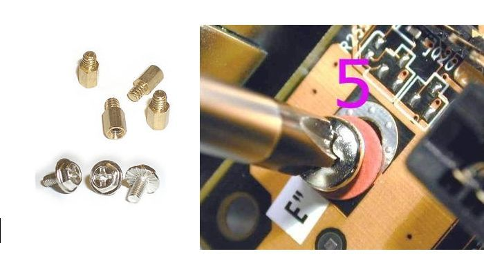 Tornillos y separadores placa base