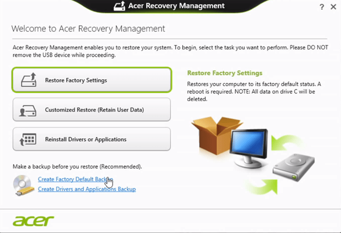 Recovery Mode en un Acer