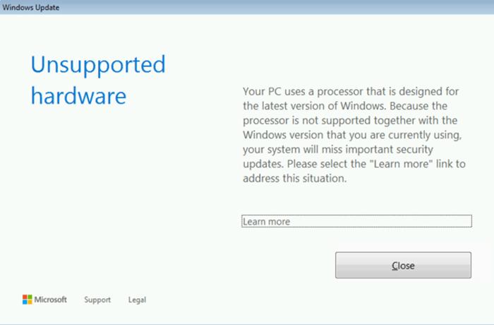 Mensaje de soporte Windows