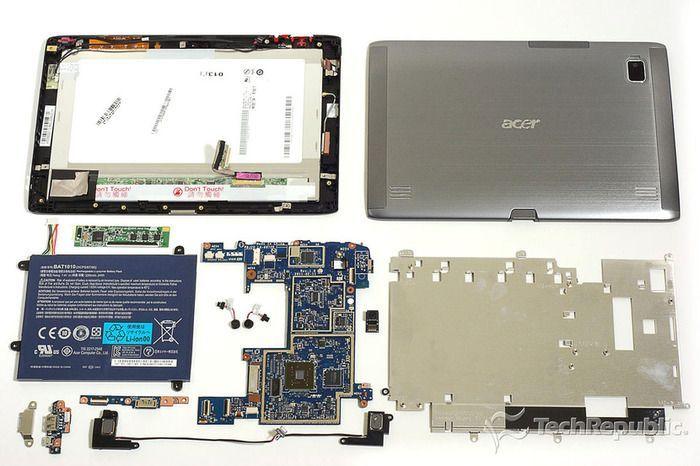 Hardware interior de un tablet