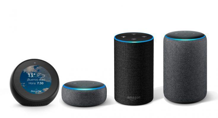 Diferentes dispositivos de Amazon Echo