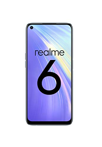 """realme 6 – Smartphone de 6.5"""", 4 GB RAM + 64 GB ROM, Procesador OctaCore, Cuádruple Cámara AI 64MP, Dual Sim, Color Comet White [Versión ES/PT]"""