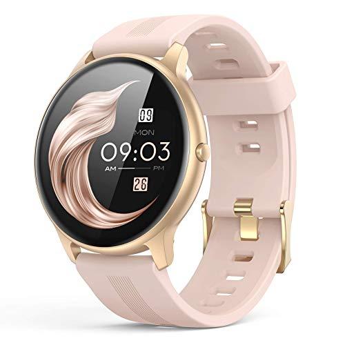 AGPTEK Smartwatch Mujer, Reloj Inteligente Deportivo 1.3 Pulgadas Táctil Completa IP68, Monitor de Sueño, Seguimiento del Menstrual, Control de Musica, Regalo Navidad