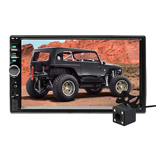 """Aigoss Radio Coche Bluetooth para 2 DIN Reproductor MP5 de 7"""" Pantalla Tactil Autoradio Estéreo Manos Libres Radio con Cámara de Visión Trasera, Bluetooth/FM/USB/AUX/TF/Mirror Link"""