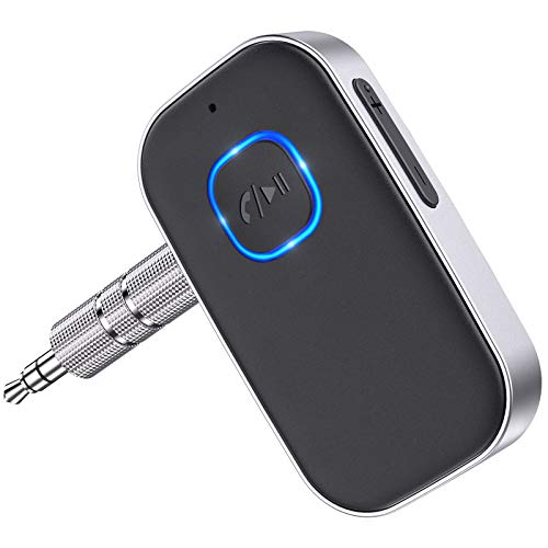 Cocoda Receptor Bluetooth Audio, Adaptador Bluetooth 5.0 Jack con Cable de 3.5mm, Cancelación de Ruido 16Hrs de Uso Enlace Dual Receptor Bluetooth Coche para Llamadas Manos Libres o Hogar Audio