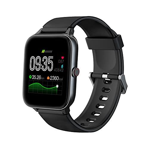 """IOWODO Smartwatch, Reloj Inteligente Hombre Mujer con 1.54"""" Táctil Completa IP68 para Pulsómetro, Monitor de Sueño,Podómetro, Modo de Natación, Pulsera de Actividad Inteligente para Android iOS"""