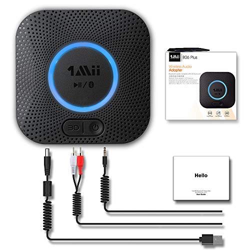 [Nuevo] 1Mii Receptor Bluetooth 5.0, Adaptador Audio Bluetooth Hi-Fi para Altavoz con AUX 3.5 mm Jack/RCA, Receptor de Audio Inalámbrico con 3D Surround AptX LL para Estéreo Hogar, Largo Alcance
